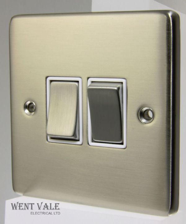 Heritage Brass Gala Elite Range - C55.810.SNW - 2 Gang 2 Way Switch Satin Nickel